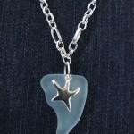 blå seaglas med stjärna
